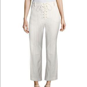 Veronica Beard Allegra Lace Up Crop Pants 6